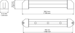 Resolux 851, 852 and 853 Surface Mount Linear LED Light with Switch Diagram by Imtra Marine Lighting