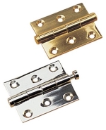 Sea-Dog Polished Cash Brass & Chrome (over Cast Brass) Removable Pin Butt Hinges